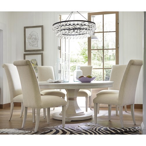 Universal California - Malibu 7 Piece Dining Set with Round Table and Upholstered Chairs