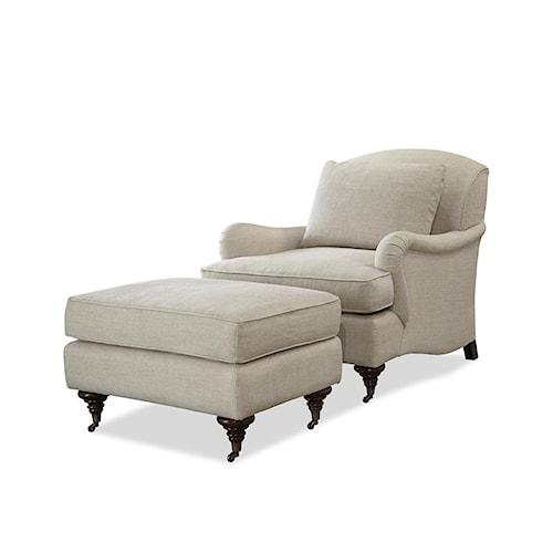 Morris Home Furnishings Churchill Traditional Chair and Ottoman Set