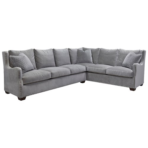 Morris Home Furnishings Connor Traditional Sectional Sofa with Nail Head Trim