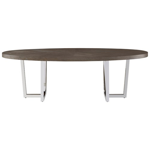 Universal Curated Dorchester Oval Cocktail Table with Chrome-Plated Base