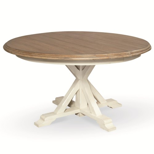 Morris Home Furnishings Great Rooms Round Single Pedestal Garden Breakfast Table