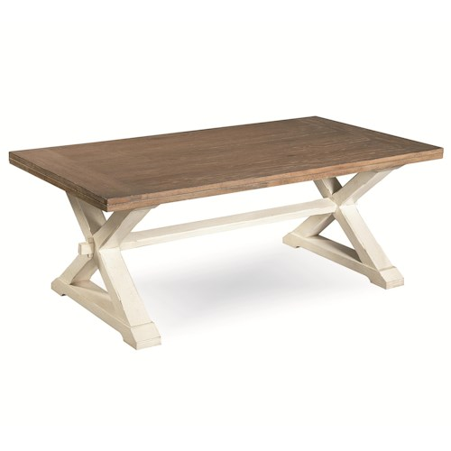 Morris Home Furnishings Great Rooms Garden Cocktail Table with Stretcher