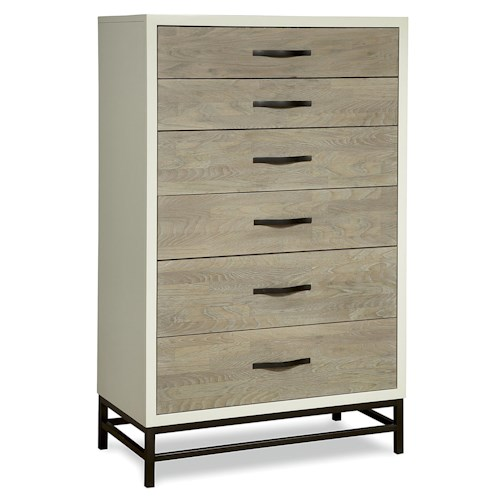 Universal Great Rooms - The Spencer Bedroom 5 Drawer Chest with Metal Base