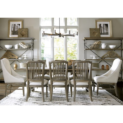 Universal Great Rooms - Berkeley 3 9 Piece Dining Set with Chelsea Kitchen Table