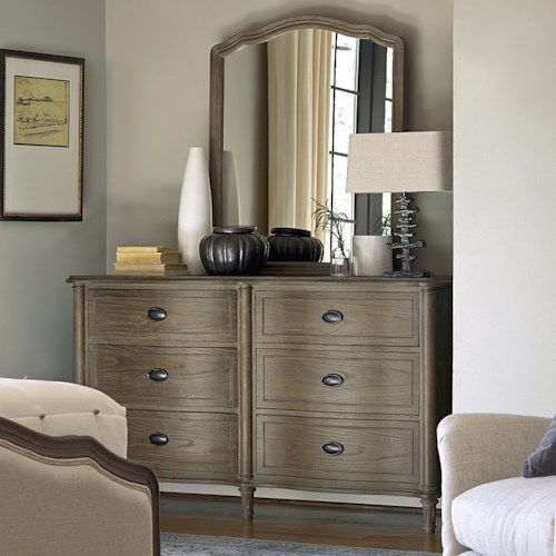 Universal Great Rooms - Devon 6 Drawer Dresser and Mirror Set