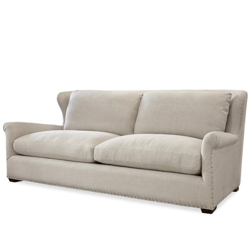 Morris Home Furnishings Haven Transitional Sofa with Rolled Arms and Spaced Nailhead