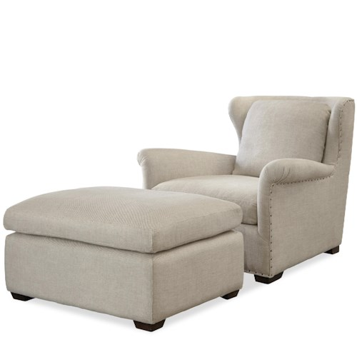 Morris Home Furnishings Haven Transitional Chair and Ottoman Set with Block Feet