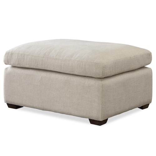 Morris Home Furnishings Haven Transitional Ottoman with Block Feet