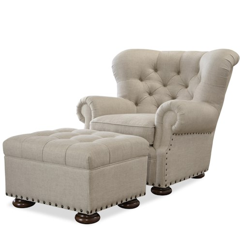 Morris Home Furnishings Maxwell Chair and Ottoman Set with Button Tufting