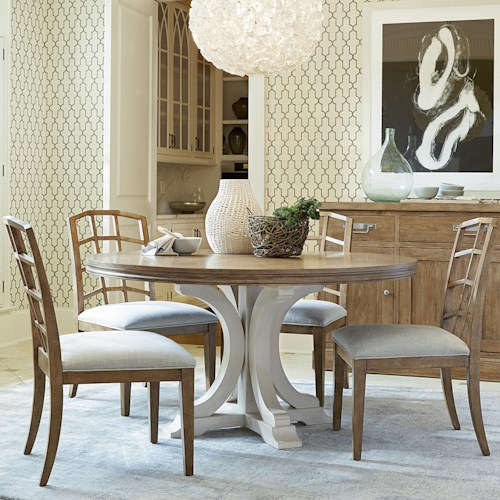 Morris Home Furnishings Moderne Muse 5 Piece Dining Set with Bisque Side Chairs