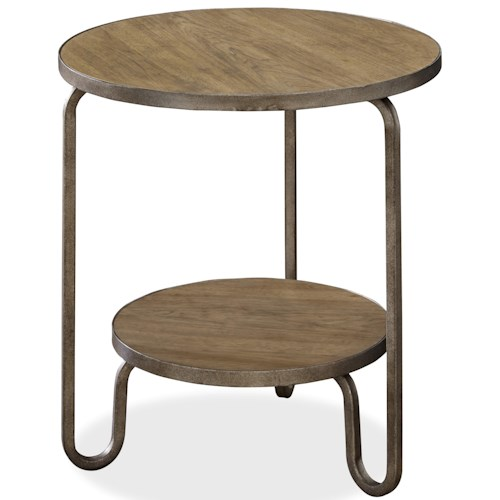 Universal Moderne Muse Round End Table With Metal Frame