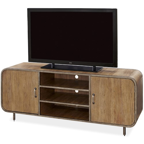 Morris Home Furnishings Moderne Muse Waterfall Media Console with 2 Open Shelves