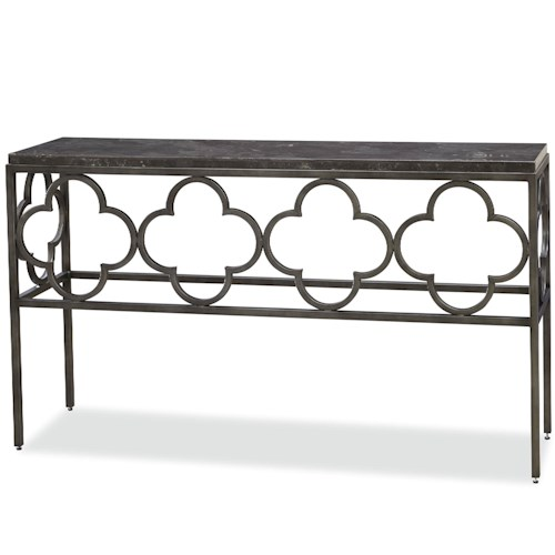 Morris Home Furnishings Bordeaux Wild Flower Console Table with Bluestone Top