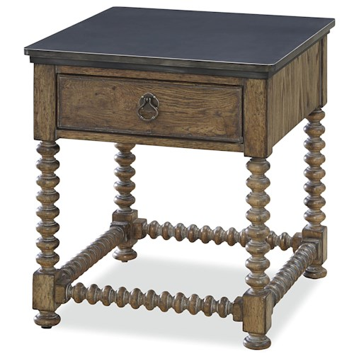 Universal New Bohemian End Table with Workbench Metal Top