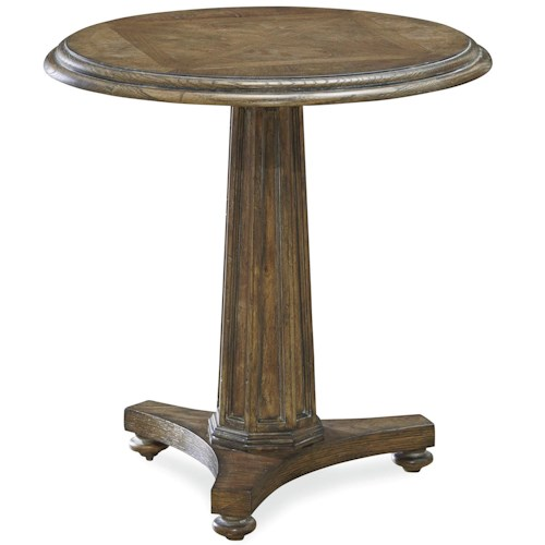 Universal New Bohemian Round End Table with Pedestal Base