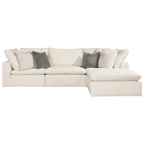 Morris Home Furnishings Palmer 4 Piece Sectional with RAF/LAF Ottoman Chaise
