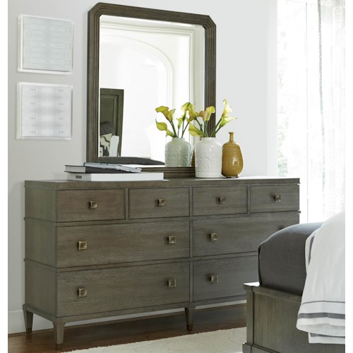 Morris Home Furnishings Platinum 8 Drawer Dresser with Mirror