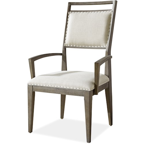 Morris Home Furnishings Platinum Dining Arm Chair with Upholstered Seat and Back