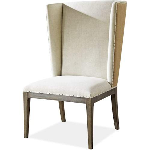 Morris Home Furnishings Platinum Host Side Chair with Winged Back