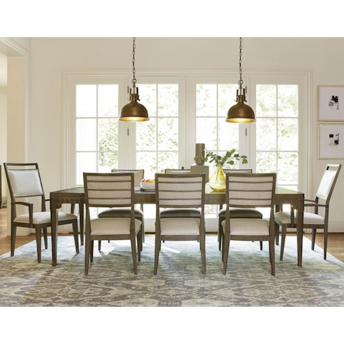Morris Home Furnishings Platinum 9 Piece Dining Set with Upholstered Side and Arm Chairs