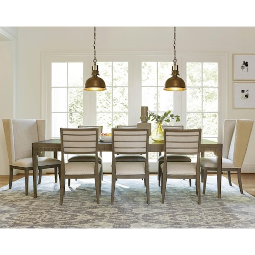 Morris Home Furnishings Platinum 9 Piece Dining Set with Host Chairs