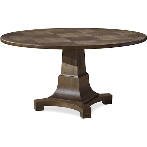 Universal Playlist Round Single Pedestal Dining Table