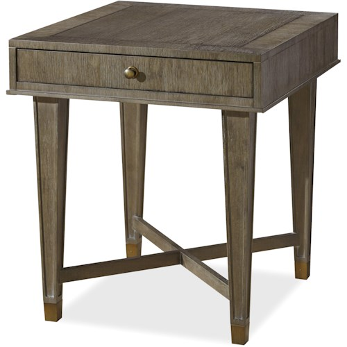 Universal Playlist Drawer End Table with X Stretchers