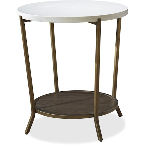 Universal Playlist Round End Table with Stone Top