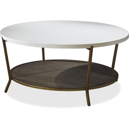 Universal Playlist Round Cocktail Table with Stone Top