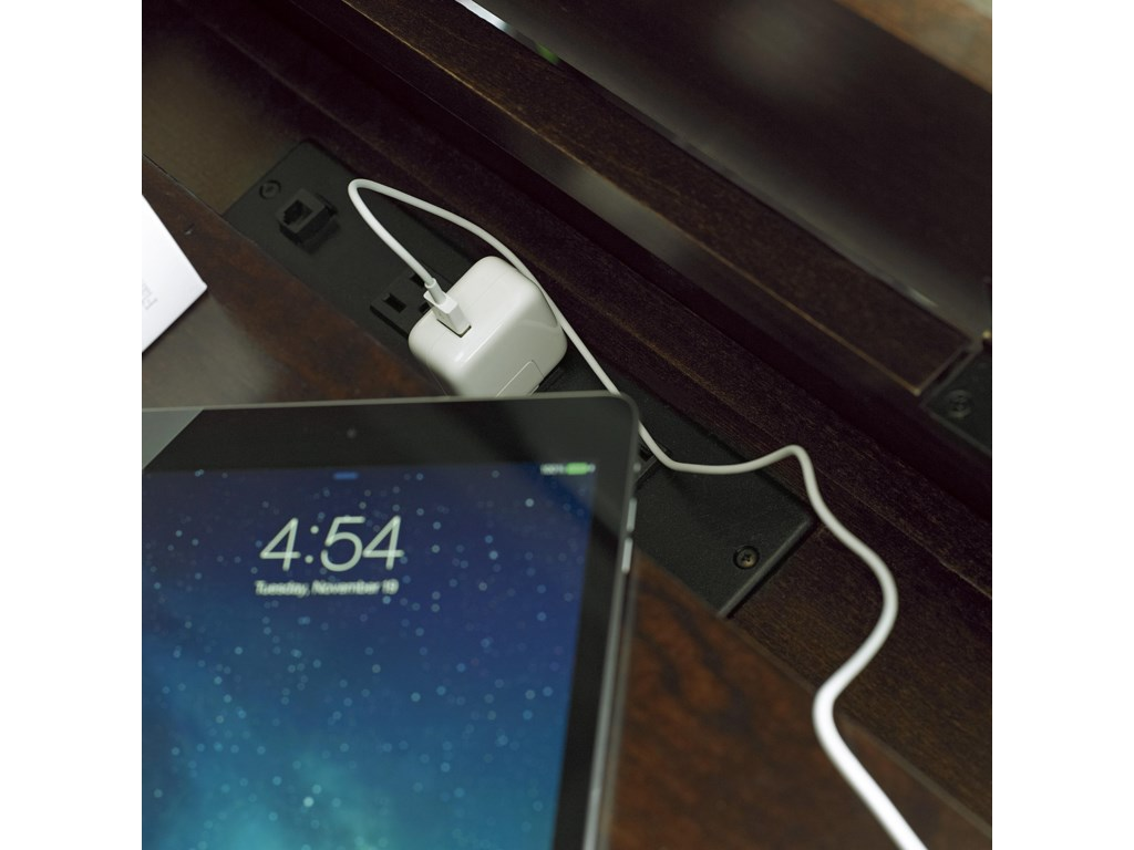 Lift-Lid Top Contains an Outlet for a Convenient Bedside Charging Station