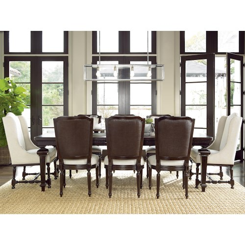 Universal Proximity Dining Set with Rectangular Table and Cane Back Side Chairs