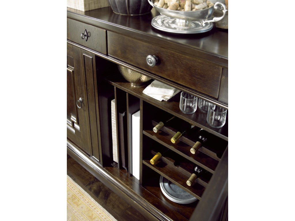 Buffet Offers Wine Bottle Storage and Vertical Platter Storage
