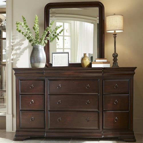 Morris Home Furnishings Newton Falls Dresser and Mirror Set with Ring Pull Hardware
