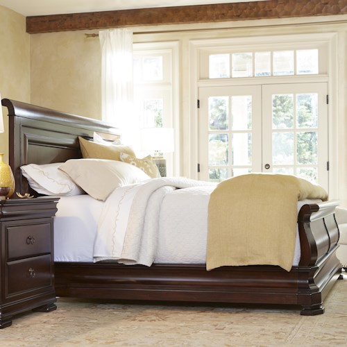 Morris Home Furnishings Newton Falls Queen Sleigh Bed with Paneled Headboard