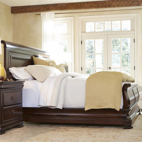 Universal Reprise King Sleigh Bed with Paneled Headboard