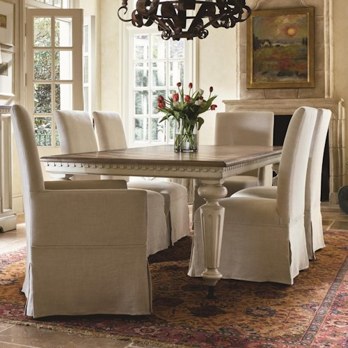 Morris Home Furnishings Sojourn 7 Piece Dining Set with Respite Upholstered Chairs