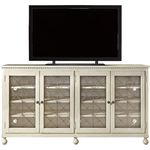 Universal Sojourn Entertainment Console with Glass Doors and Metal Grills
