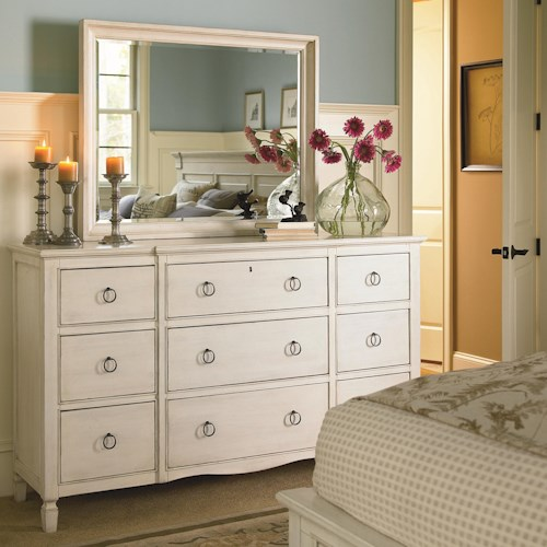 Morris Home Furnishings Summer Shade Dresser and Rectangular Landscape Mirror Set