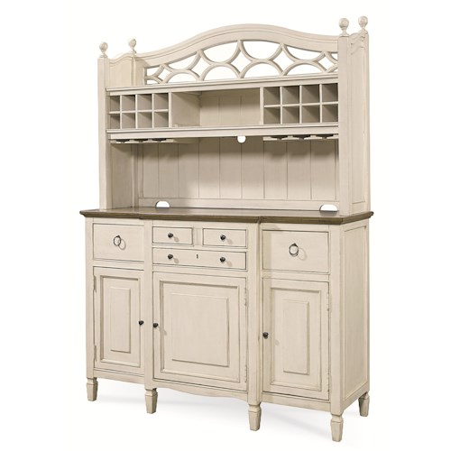 Morris Home Furnishings Summer Shade 2 Pc. Serving Buffet and Bar Hutch with Wine Storage