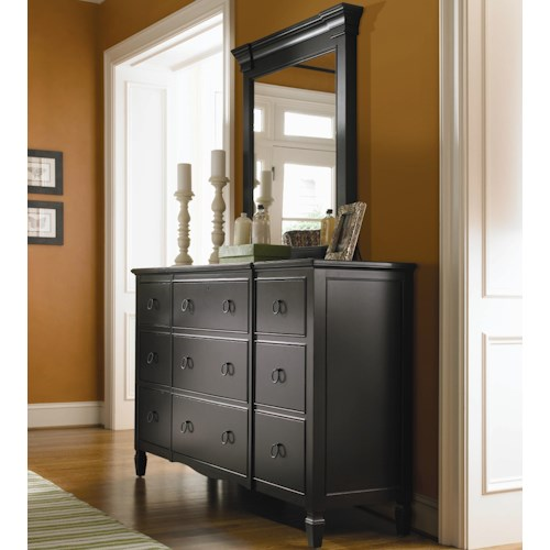 Universal Summer Hill 9 Drawer Dresser with Vertical Panel Mirror