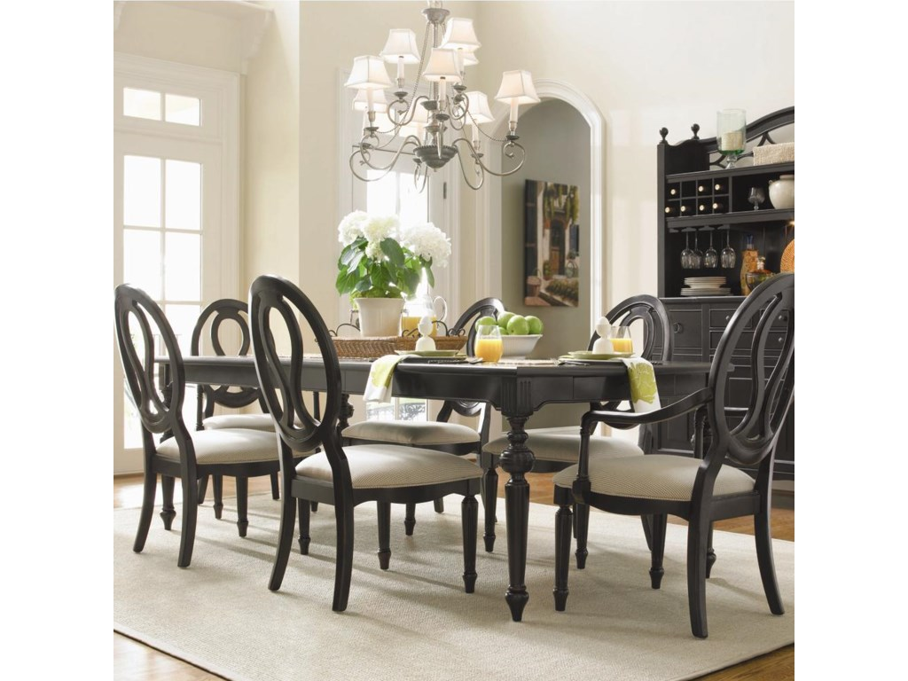 Arm Chair Shown with Rectangular Table and Side Chair