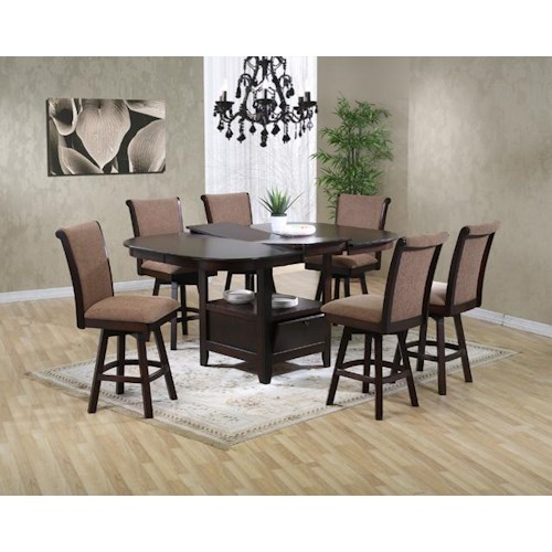 U.S. Furniture Inc 2241/2242 7 Piece Pub Height Oval Top Table with Butterfly Leaf and Swivel Stool Dining Chair Set