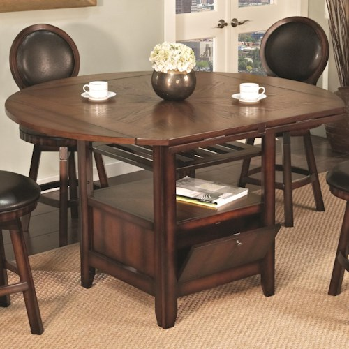 U.S. Furniture Inc 2251/2252 Round Top Pub Table with Storage Base and 4 Drop Leaves