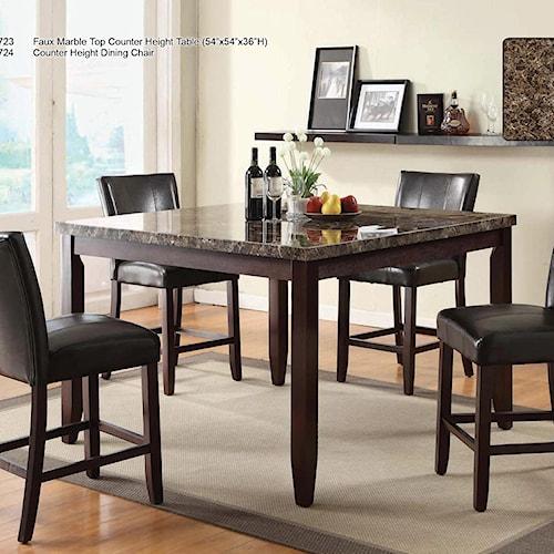 U.S. Furniture Inc 2720 Dinette Transitional Five Piece Faux Marble 54