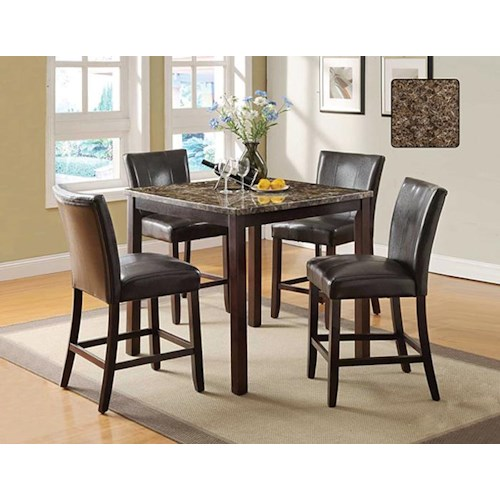 U.S. Furniture Inc 2720 Dinette Transitional Five Piece Faux Marble 40