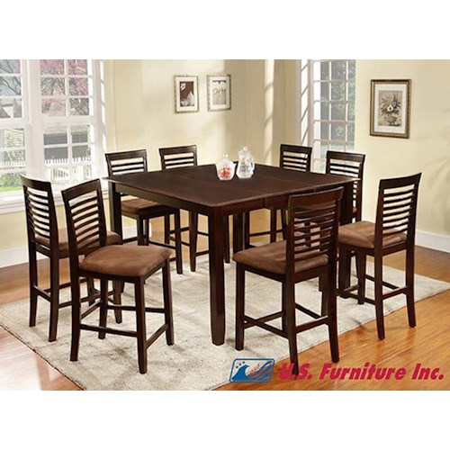 U.S. Furniture Inc 2744 Dinette 9 Piece Square Dining Table with Legs and Upholstered Chairs with Ladder Back Set