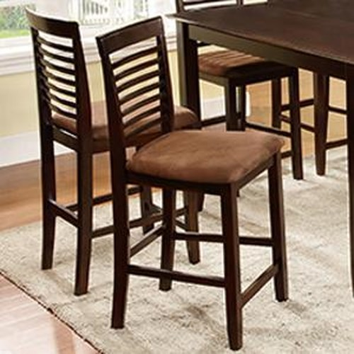 U.S. Furniture Inc 2744 Dinette Counter Height Chair with Upholstered Seat and Ladder Back Design