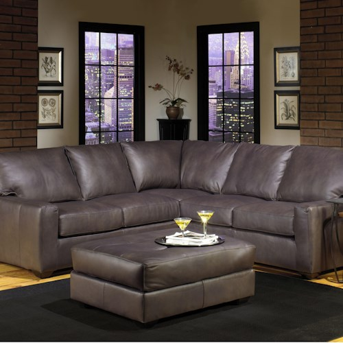 USA Premium Leather 2655 Transitional Four Seater Sectional Sofa with Track Arms and Exposed Wood Legs