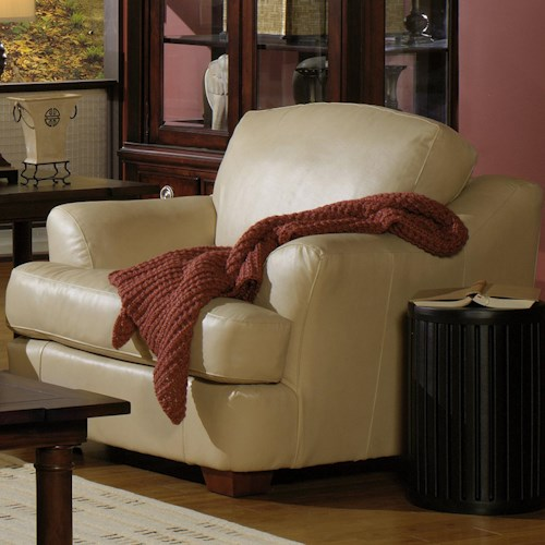 USA Premium Leather 3455 Transitional Leather Upholstered Chair with Flair-Tapered Arms