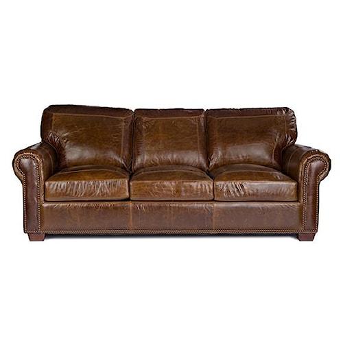USA Premium Leather 4955 Stationary Leather Sofa